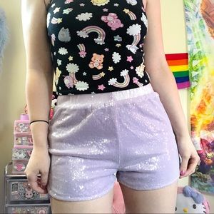 Motel Lavender Sequin shorts